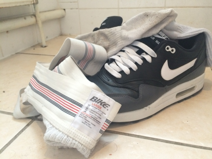 Nike trainers, dirty jock and sweaty white guym socks